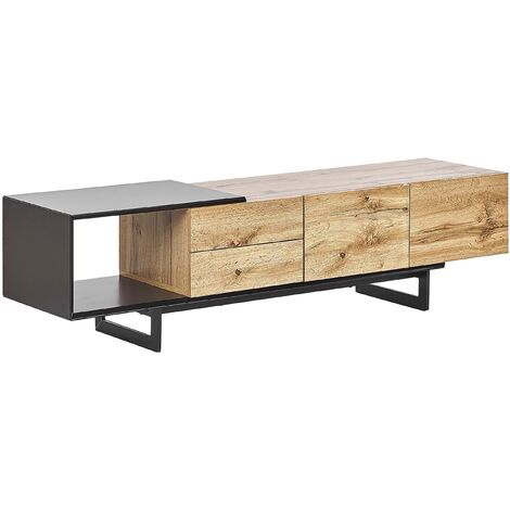 TV Stand Light Wood and Black FIORA