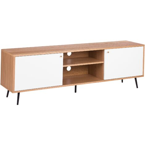 TV Stand Light Wood and White PORTLAND