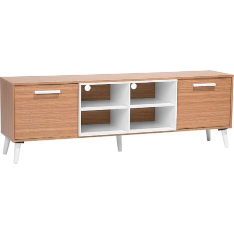 TV Stand Light Wood with White ALLOA