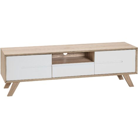 TV Stand Light Wood with White FORESTER