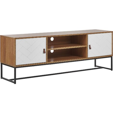 TV Stand Media Unit with Cable Management Metal Legs Light Wood with White Nueva