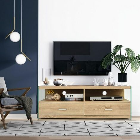 """main image of """"TV Stand Modern TV Cabinet with Shelf & Drawers Storage Cabinet Media Entertainment Center Glass and Natural Wood Color"""""""