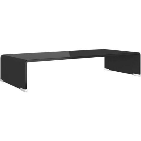 TV Stand/Monitor Riser Glass Black 70x30x13 cm
