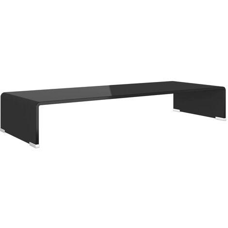 TV Stand/Monitor Riser Glass Black 80x30x13 cm