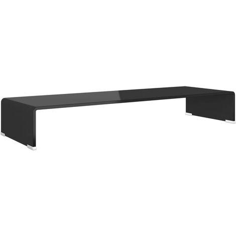 TV Stand/Monitor Riser Glass Black 90x30x13 cm