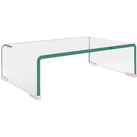 TV Stand/Monitor Riser Glass Clear 40x25x11 cm - Transparent