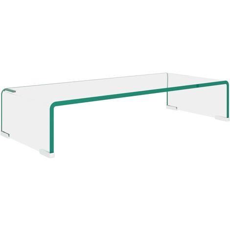 TV Stand/Monitor Riser Glass Clear 60x25x11 cm