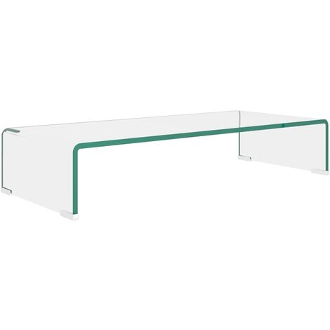 TV Stand/Monitor Riser Glass Clear 70x30x13 cm - Transparent