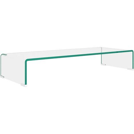 TV Stand/Monitor Riser Glass Clear 80x30x13 cm - Transparent