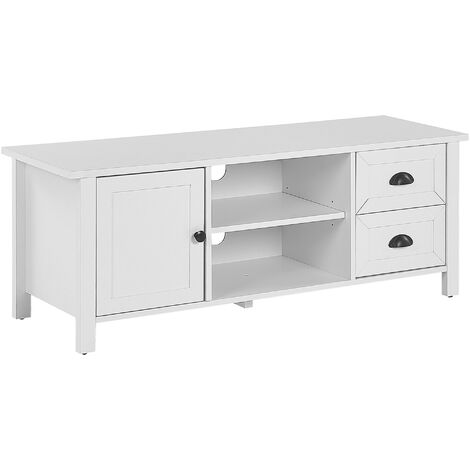 """main image of """"TV Stand Rustic White Cabinet Drawers Shelves Cable Management Honolulu"""""""