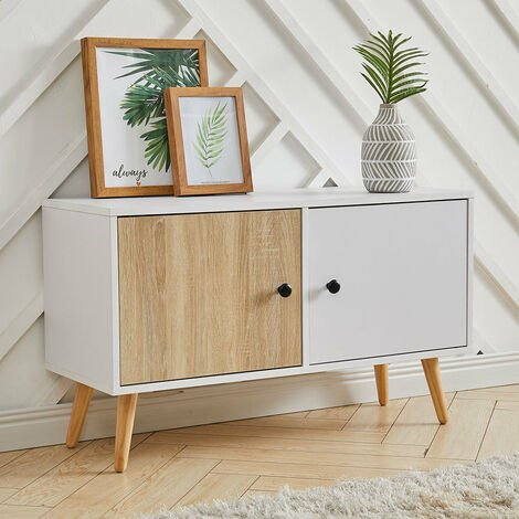 TV Stand Storage Cabinet Unit w/ Wood Legs 2 Cupboards