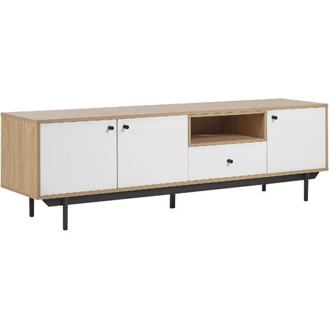 TV Stand Storage Cabinets Shelves Drawer Cable Management Light Wood White Itaca