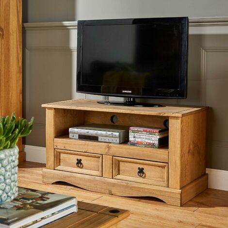 """main image of """"TV Stand Waxed Pine 2 Drawer Television Cabinet Corner Unit Corona Solid Wood"""""""