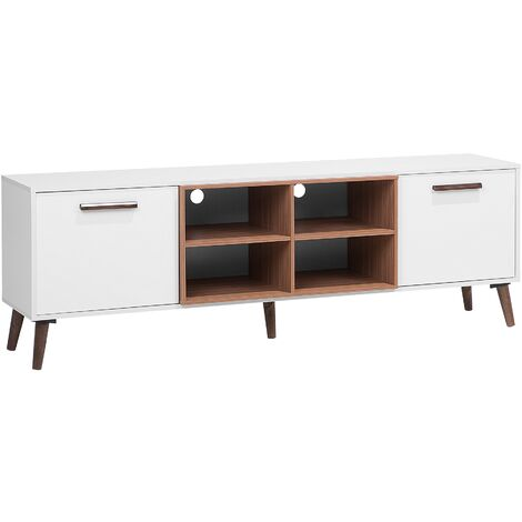 TV Stand White with Dark Wood ALLOA