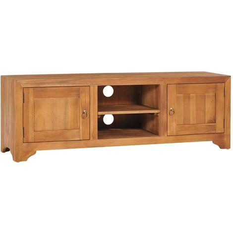 TV Unit 120x30x40 cm Solid Teak Wood - Brown