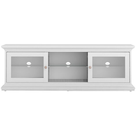 TV Unit - Wide - 2 Doors 1 Shelf in White