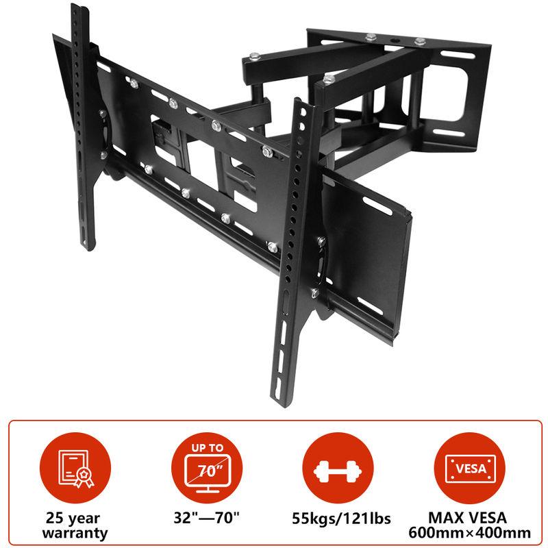 TV Wall Bracket for 32'-70', Swivel & Tilt TV Mount Bracket for TV LCD LED Plasma Flat Curved Screens up to 55kg (Double Arm Cantilever)