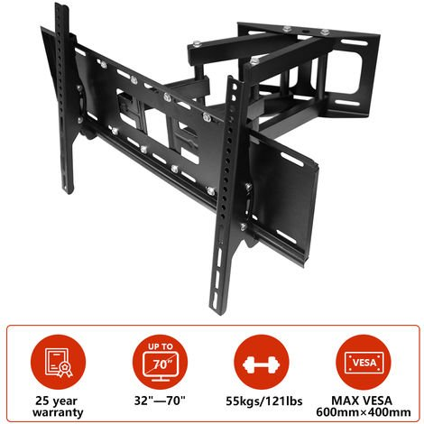 """main image of """"TV Wall Bracket for 32""""-70"""", Swivel & Tilt TV Mount Bracket for TV LCD LED Plasma Flat Curved Screens up to 55kg (Double Arm Cantilever)"""""""