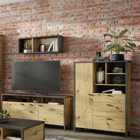 TV Wohnwand INDORE-10 in Artisan Eiche Nb./Stahl dunkel, Industrial Look, B/H/T: ca. 243/132/40-40,5 cm