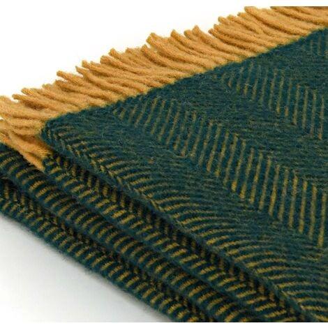Tweedmill Pure New Wool Herringbone Emerald & Mustard Throw