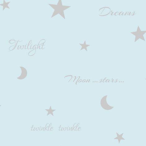 Twilight Wallpaper Teal Metallic Shiny Silver Moon Stars Feature Wall Arthouse