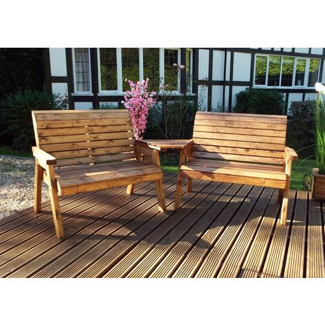 Twin 2 Seater Bench Set Quality, Wooden Garden Furniture, fully assembled