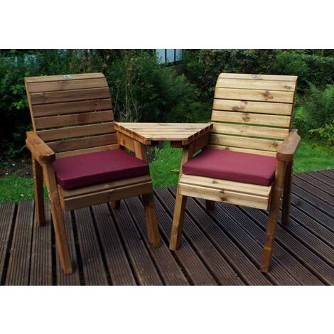 Twin Companion Set Angled with Burgundy Cushions - Fully Assembled