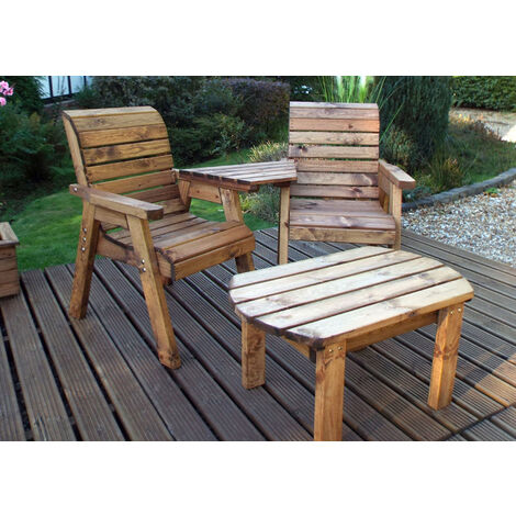 Twin Companion Set Dining - Angled. Quality Wooden Garden Furniture, fully assembled