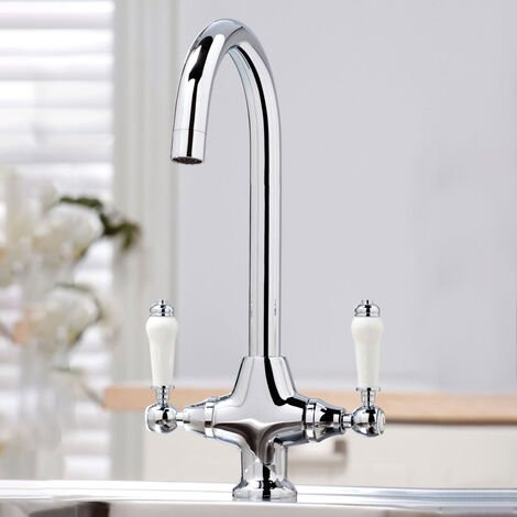 TWIN LEVER TRADITIONAL BRASS KITCHEN SINK MIXER MONO TAP SOLID BRASS