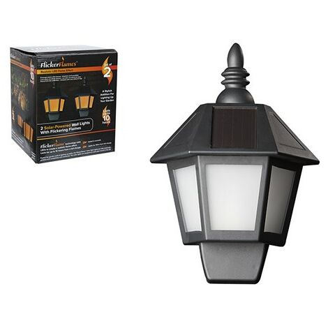 TWIN PACK DANCING FLAME SOLAR BATTERY OPERATED WALL LANTERN