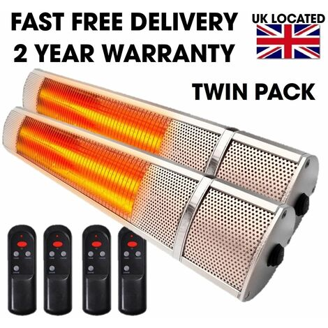 Twin Pack Patio Outdoor Electric Heater 2KW Wall Mounted Infrared Garden Heater