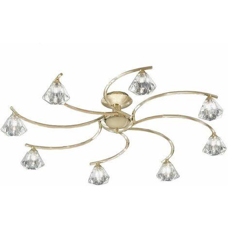 Twista crystal brass ceiling light 8 bulbs