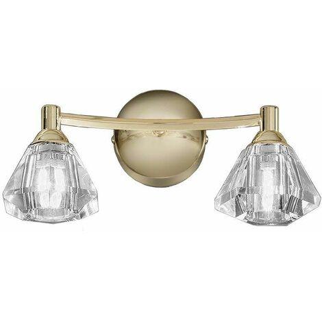 Twista crystal brass wall light 2 bulbs