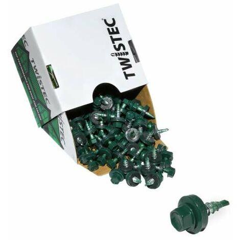 Twistec® Colorhead 4,8X20 moosgrün, für 451M8P 100St./Pck 292PVZ48X206005 Trapezblechschrauben