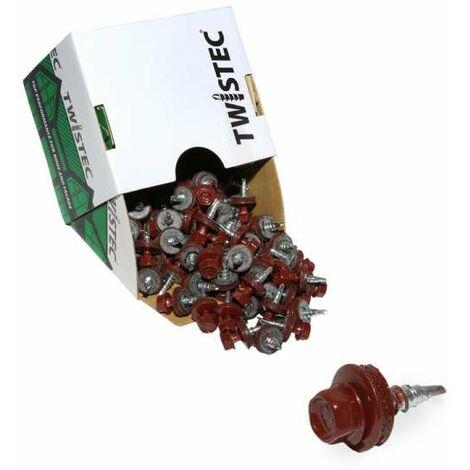 Twistec® Colorhead 4,8X20 rotbraun, für 451M8P 100St./Pck 292PVZ48X208012 Trapezblechschrauben