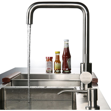 (Two Connections) SUS304 360 ° Swivel Stainless Steel Mixer with ABS Bubbler Kitchen Mixer Kitchen Mixer Tap Single Lever Mixer