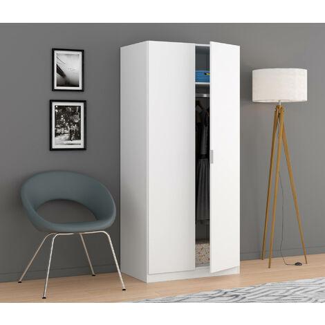 Two-door cabinet, white, 81.5 x 180 x 52 cm.