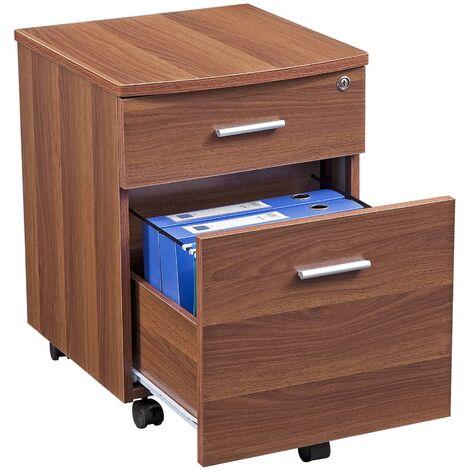 Two Drawer Lockable A4 Suspension Filing Pedestal Cabinet Cupboard Matching Dark Walnut Desks for Home Office Piranha Furniture - Blenny PC 10w - Dark Walnut