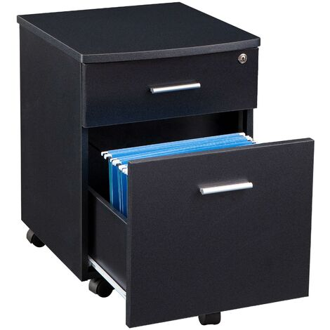 Two Drawer Lockable A4 Suspension Filing Pedestal Cabinet Cupboard Matching Graphite Black Desks for Home Office Piranha Furniture - Blenny PC 10g - Graphite Black