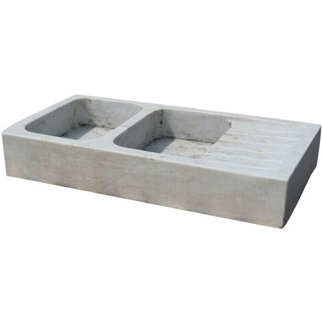 Two hole white marble W122xDP61xH20 cm sized sink