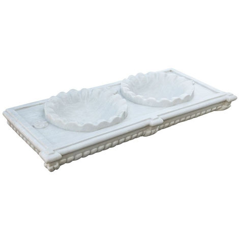 Two-hole white marble W130xDP56xH15 cm sized basin
