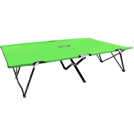Two Person Folding Sun Lounger Green Steel