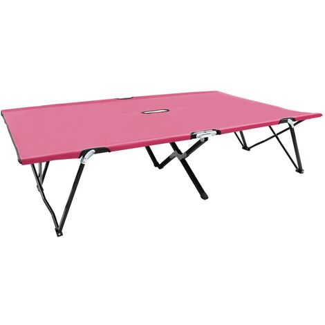 Two Person Folding Sun Lounger Pink Steel