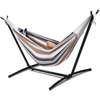 Two Person Hammock & Steel frame Stand Swing Chair Camping Cotton W/ Carry Bag