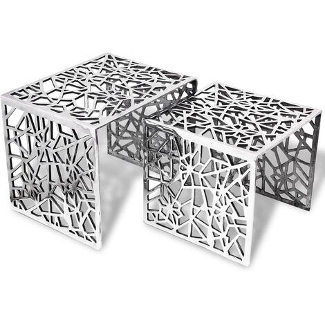 Two Piece Side Tables Square Aluminium Silver - Silver