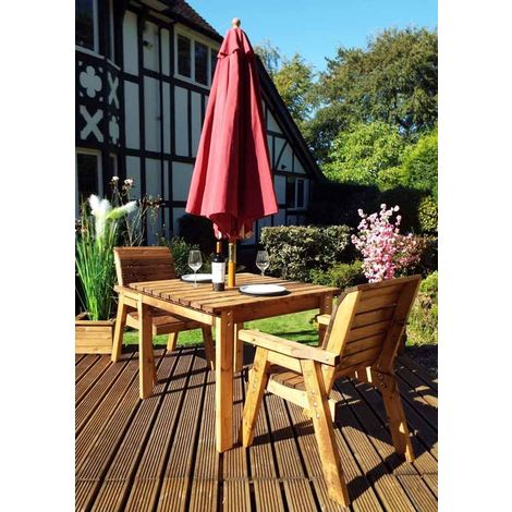 Two Seater Square Table Set with Burgundy Cushions - Fully Assembled