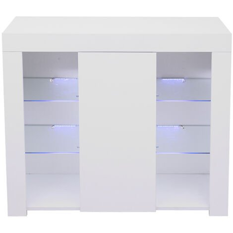 Two Side Three-tier Bedside Cabinet LED lighting Nightstand Table White