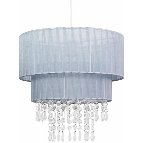 Two Tiered Jewelled Ceiling Light Shade Acrylic Crystal Easy Fit Chandelier