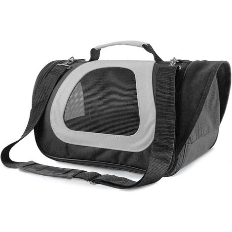 Two-tone dog transport bag complete with leash and pocket Record