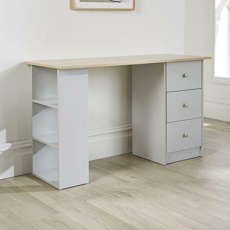 "main image of ""Two Tone Grey Office Desk PC Workstation Sonoma Oak Top 3 Drawer 3 Shelf Storage"""